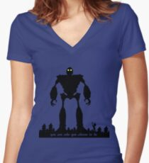 Iron Giant - Choose Who You are Women's Fitted V-Neck T-Shirt