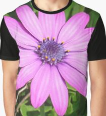 Single Pink African Daisy Against Green Foliage Graphic T-Shirt