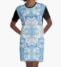 Teal Blue, Pearl & Pink Floral Pattern Graphic T-Shirt Dress