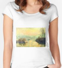 Claude Monet - Sun Setting Over The Seine At Lavacourt  Winter Effect 1880  Women's Fitted Scoop T-Shirt