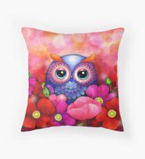 Owl in Poppy Field Dekokissen