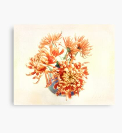Colorful Red and Yellow Mums Still Life Canvas Print