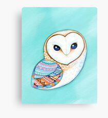 Tribal Pattern Barn Owl Metal Print