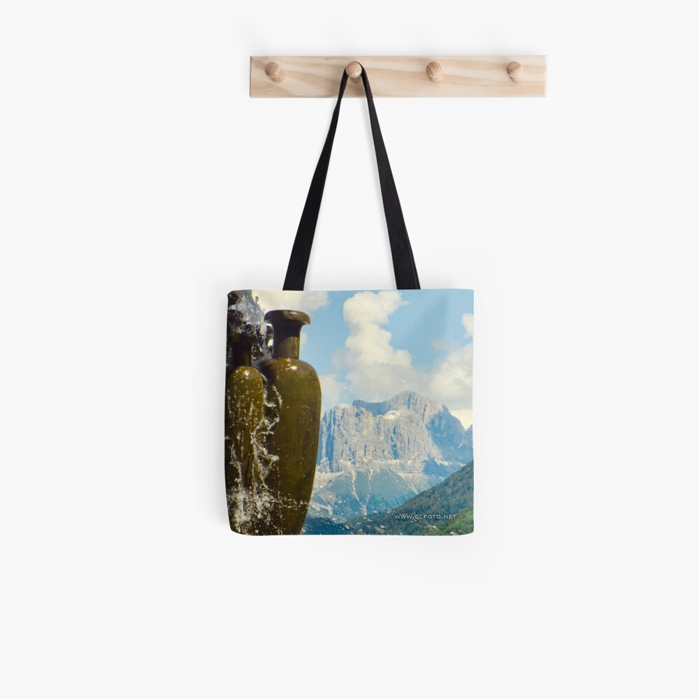 Fountain with the Dolomites beyond Tote Bag