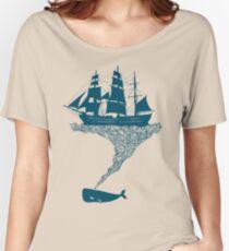 Camiseta ancha para mujer Exhalando restos flotantes