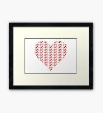 Bike Heart (Red) (Small) Framed Print