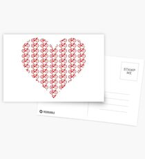 Bike Heart (Red) (Small) Postcards