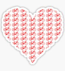 Bike Heart (Red) (Small) Sticker