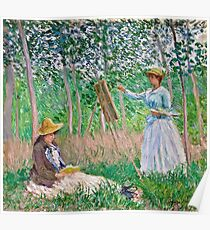Claude Monet - In the Woods at Giverny Blanche Hoschede at Her Easel with Suzanne Hoschede Reading 1887  Poster