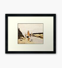 Claude Monet - Breakwater at Trouville, Low Tide (1870)  Framed Print