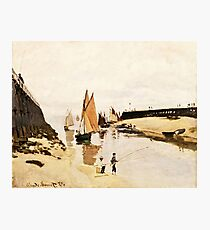 Claude Monet - Breakwater at Trouville, Low Tide (1870)  Photographic Print