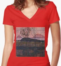 Egon Schiele - Setting Sun (1913)  Women's Fitted V-Neck T-Shirt