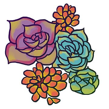 Colorful Cartoon Succulents by littledemeter