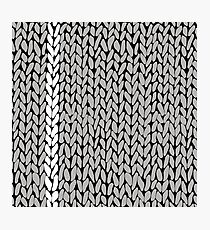 Grey Knit With White Stripe Photographic Print