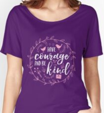 Have Courage and Be Kind Typography Raspberry Pink Relaxed Fit T-Shirt