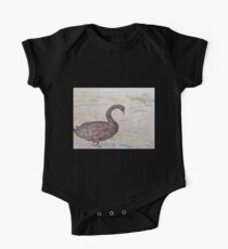Black Swan at lake by Liz H Lovell One Piece - Short Sleeve