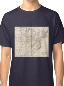 0329 Railroad Maps H V Poor's rail road map showing particularly the location and connections of the North East South West Alabama Rail Road by E D Sanford Civil Classic T-Shirt