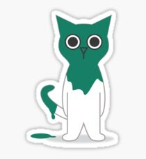 Cat Turquoise Paint Spill Cartoon Graphic Vector Sticker