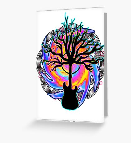 """""""Psychedelic Sonic Cyclone""""   ( surreal guitar tree art) Greeting Card"""
