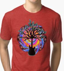 """""""Psychedelic Sonic Cyclone""""   ( surreal guitar tree art) Tri-blend T-Shirt"""