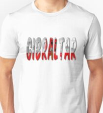Gibraltar Word With Flag Texture Unisex T-Shirt