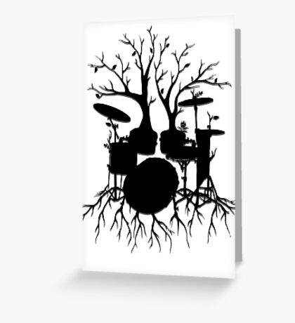 """""""Live the Beat to the Tempo of Creation"""" ~ drum tree art, version2 Greeting Card"""
