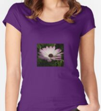 Side View of A Pink and White Osteospermum Women's Fitted Scoop T-Shirt