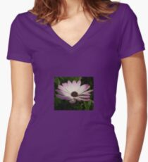 Side View of A Pink and White Osteospermum Women's Fitted V-Neck T-Shirt
