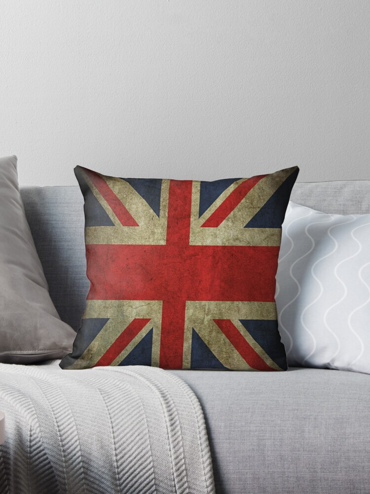 Quot Antique Faded Union Jack Uk British Flag Quot Throw Pillows