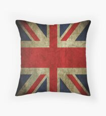 Antique Faded Union Jack UK British Flag Throw Pillow
