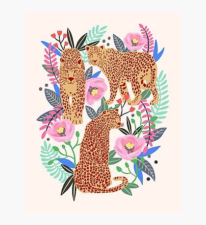 Leopard Idea, leopard print, animal print, flower print Photographic Print
