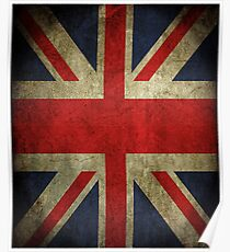 Antique Faded Union Jack UK British Flag Poster