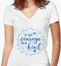 Have Courage and Be Kind Typography Cobalt Blue Women's Fitted V-Neck T-Shirt