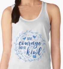 Have Courage and Be Kind Typography Cobalt Blue Women's Tank Top