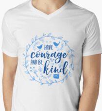 Have Courage and Be Kind Typography Cobalt Blue Men's V-Neck T-Shirt