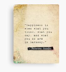 Gandhi quote about happiness Canvas Print