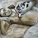 Frida Kahlo with cat by olivia-art