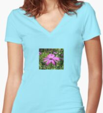 Side View Of A Purple Osteospermum With Garden Background Women's Fitted V-Neck T-Shirt