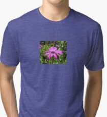 Side View Of A Purple Osteospermum With Garden Background Tri-blend T-Shirt