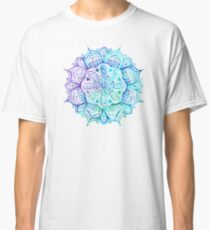 Iridescent Aqua and Purple Watercolor Mandala  Classic T-Shirt