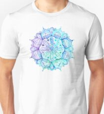 Iridescent Aqua and Purple Watercolor Mandala  T-Shirt