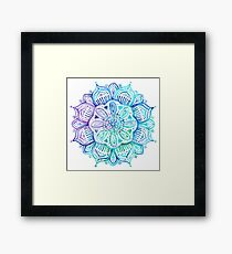 Iridescent Aqua and Purple Watercolor Mandala  Framed Print