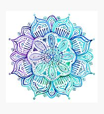 Iridescent Aqua and Purple Watercolor Mandala  Photographic Print