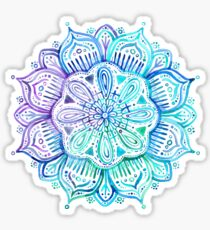 Iridescent Aqua and Purple Watercolor Mandala  Sticker