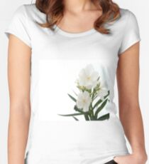 White Oleander Flowers Close Up Isolated On White Background  Women's Fitted Scoop T-Shirt