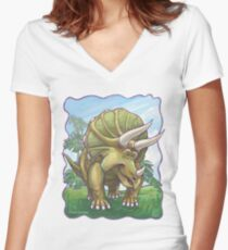 Animal Parade Triceratops Women's Fitted V-Neck T-Shirt
