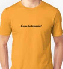 Ghostbusters - Are you the Keymaster - Black Font T-Shirt