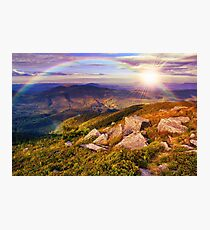 light on stone mountain slope with forest Photographic Print