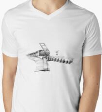 zipper railway Men's V-Neck T-Shirt