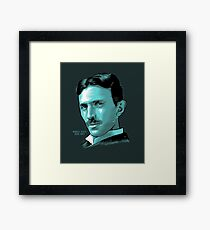 Nikola Tesla Portrait Science Electrical Framed Print
